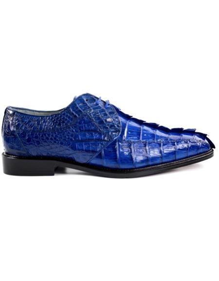 ROYAL Belvedere Colombo Hornback Crocodile Shoes Ocean Blue