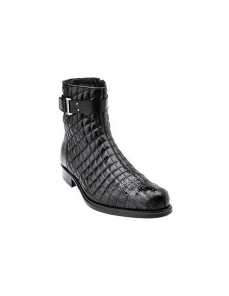 Belvedere Libero Quilted Leather & World Best Alligator ~ Gator Skin Cap Toe Boots Black