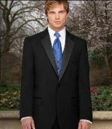 Fitted Slim Fitc Cut Designer 1 Button Notch Tuxedo With Flat Front Pants $299