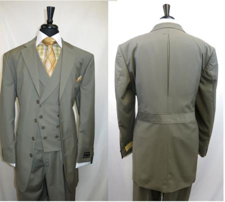 SKU#SS-845 Men's Suit 4 button Single Breasted Suit Jacket Olive Green $159