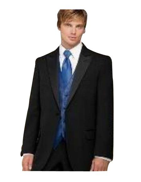 Fitted Slim Fitc Cut Designer 1 Button Peak Lapel Tuxedo With Pleated Pants Pants $199