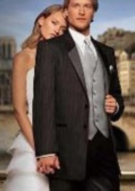 Fitted Slim Fitc Cut Designer 2 Button Notch Parisian Black Tuxedo With Pleated Pants $299