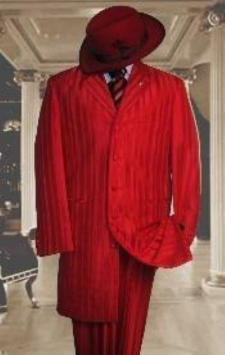 SKU#HIN2059 Shiny Red And Red Stripe Ton on Ton Shadow Stripe Mens Fashion Dress Suits $499