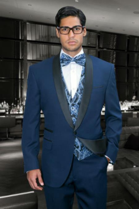 1 Button Regular Fit Jacket & Pants Evening Shawl Lapel Navy Blue