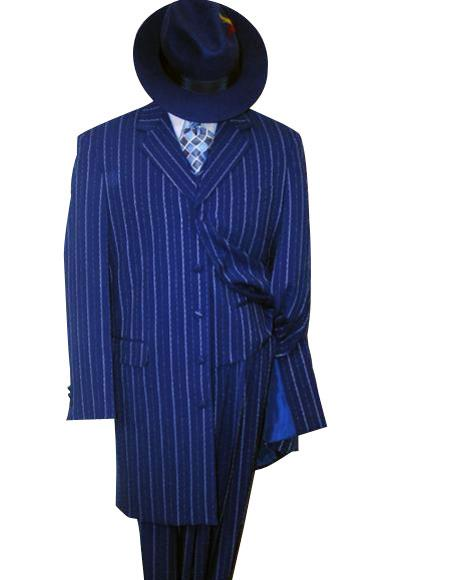 WTX-Zoot200 Mens Vested Royal Blue & Bold Pronounce White Pinstripe Fashion Zoot Suit $150 (Wholesale Price available)