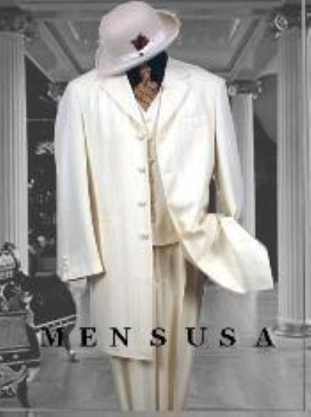 SKU#ACMUT6PC Bright Off White~Ivory~Cream Fashion Longer Jacket 3 Button With Mens Vested Suit