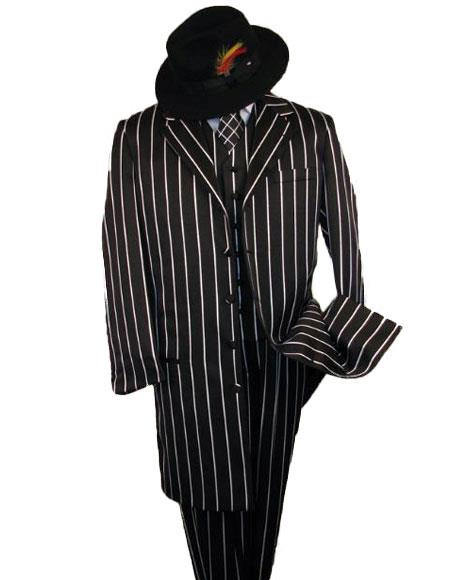 WTXZoot200SUITAMM282 SHIMMERY GANGSTER  Black And Bold Pronounce  White Stripe ~ Pinstripe Fashion Longe