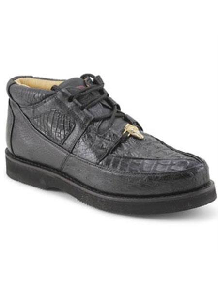 Mens Los Altos Genuine Caiman & Ostrich Padded Collar Black belvedere Tennis Sneaker Shoes