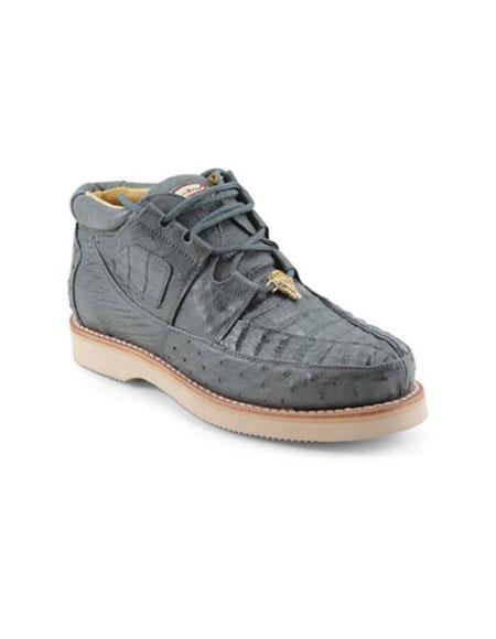 Mens Los Altos Genuine Caiman & Ostrich Four Eyelet Lacing Grey Authentic Genuine Skin Italian Tennis Dress Sneaker Shoes