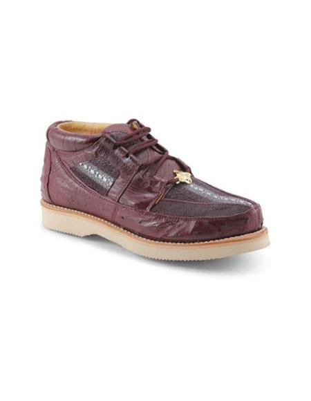 Mens Los Altos Genuine Stingray & Ostrich Four Eyelet Lacing Burgundy ~ Wine ~ Maroon Color Shoes