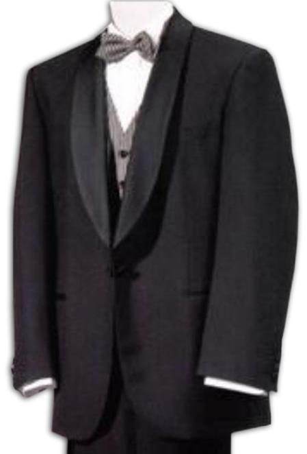 SKU# WTX1BShawl Tux Mens Tuxedo Shawl Collor Super 120s Wool Suit + Shirt + Any Color Bow Tie