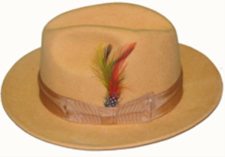 SKU#SQK753 Untochable Orange Color HAT NEW MENS 100% WOOL DRESS HAT