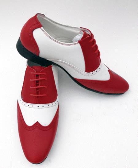 Buy SS-2N3 Men's Two Tone Wintip Oxford Dress Shoe White/Red