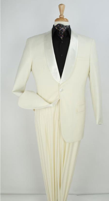 1 Button Cream Shawl Collar Tuxedo Suit Dinner Jacket Blazer