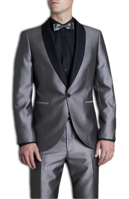 Mens Silver Tonic Dress Suit with Contrast Black Marcella Shawl Collar