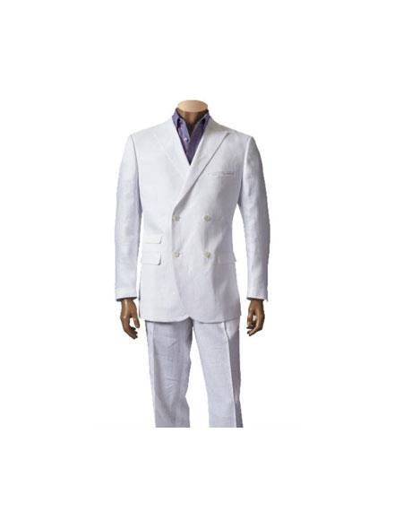 Mens Double Breasted Linen Suit Blazer Sport Coat Jacket and Flat Front Pants Style White