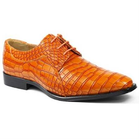 SKU#SM05 Mens Orange Alligator Exotic~ Crocodile Exotic Print skin Lace up Oxford Skin Lace Up