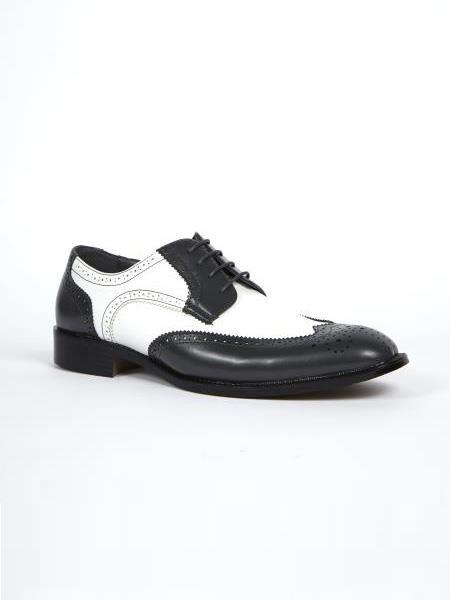 Mens Grey White Dress Shoes