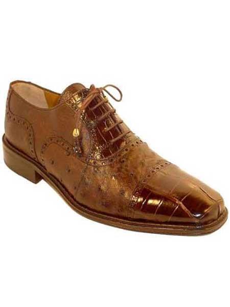Ferrini Mens World Best Alligator ~ Gator Skin Chocolate Ostrich Cap Toe High Fashion Shoes