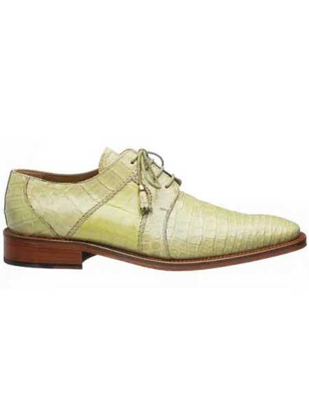 Ferrini Peridot Cream Mens Full Leather Sole And Heel World Best Alligator ~ Gator Skin Shoes