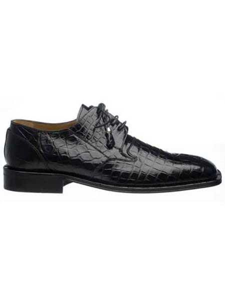 Ferrini Mens Black Classic Italian Lace Up Design Square Toe World Best Alligator ~ Gator Skin Shoes