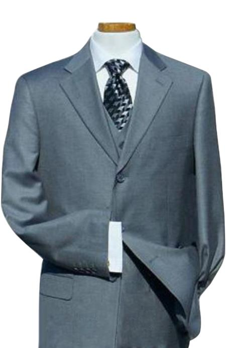 Solid Light Gray with Super 140s Extra Fine 3pc with Vest Back Side Vents Available in 2 or Three ~ 3 Buttons Style Regular Classic Cut $139 (Wholesale Price available)