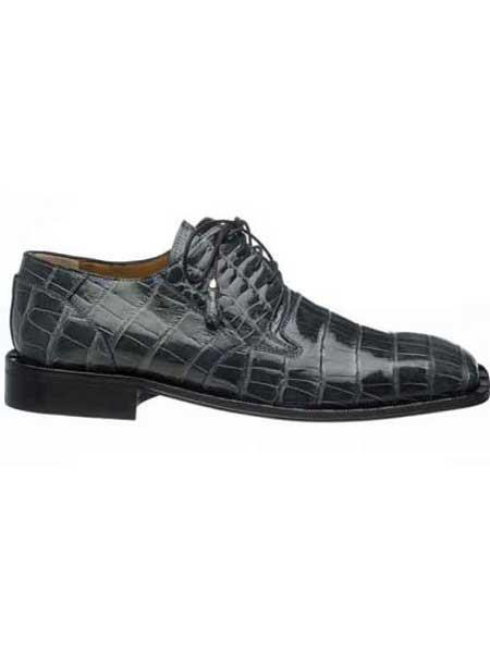 Ferrini Mens Gray Square Toe Leather Lining And Heel World Best Alligator ~ Gator Skin Skin Shoes