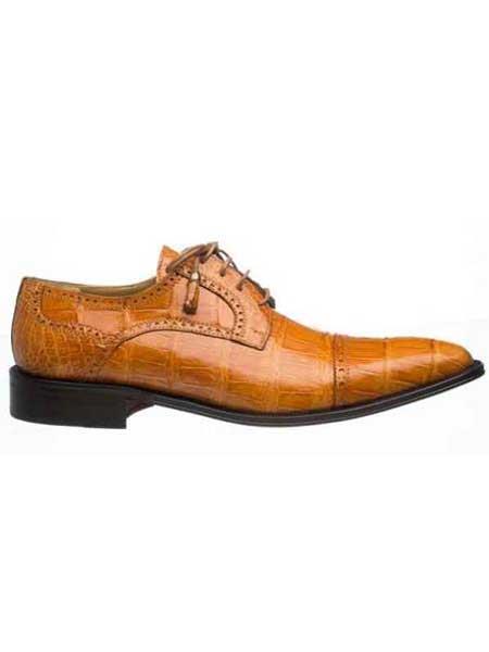 Ferrini Mens Cognac Full Cap Real World Best Alligator ~ Gator Skin Skin Leather Lined Dress Shoes