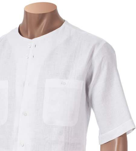 Mens White Pleated Scoop