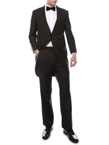 New Vintage Tuxedos, Tailcoats, Morning Suits, Dinner Jackets Mens Black 1 Wool Cutaway Tuxedo Regular Fit 2 Piece Peak Lapel Suit $175.00 AT vintagedancer.com