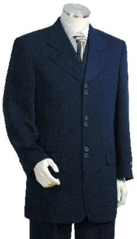 SKU#RHLI_5BV Designer Mens Fashion Church Mens Navy Blue 3x2=6 Buttons Suit