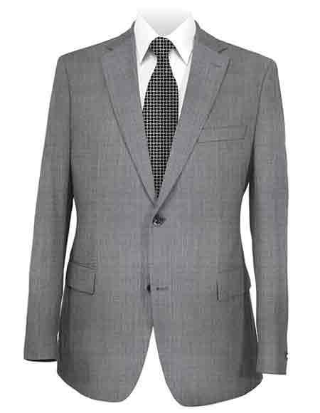 Medium Grey Men's Notch Lapel Solid 2 Button Suit