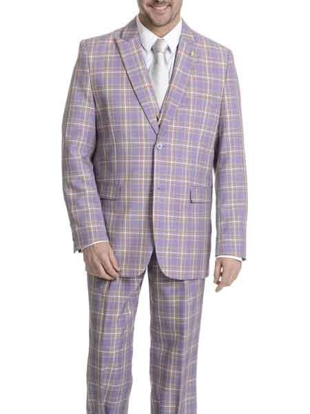 Mens Peak lapel Plaid