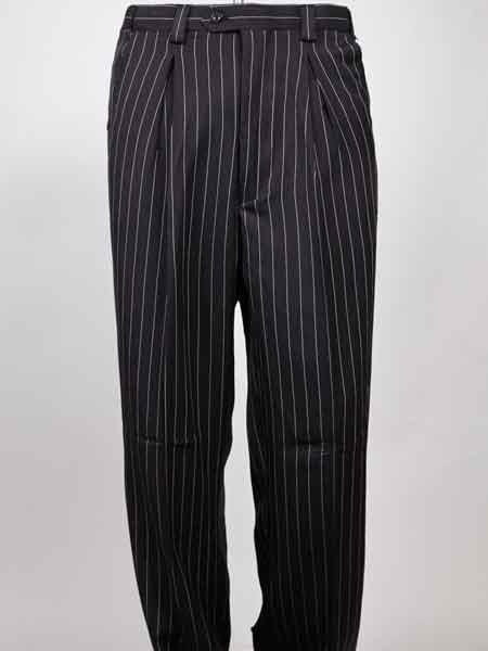 Black Pinstripe Wide Leg