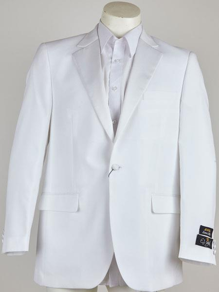 Button Mens White Single