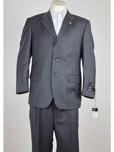 1920s Mens Suits Mens 3 Button Single Breasted Pinstripe Notch Lapel Grey Wool Suit $149.00 AT vintagedancer.com