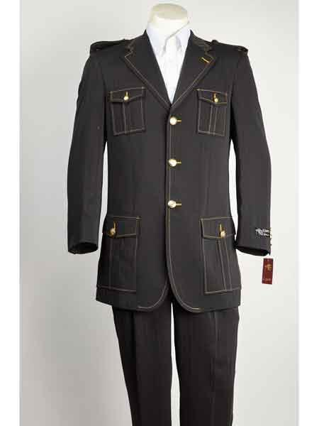 Black Notch Lapel Military