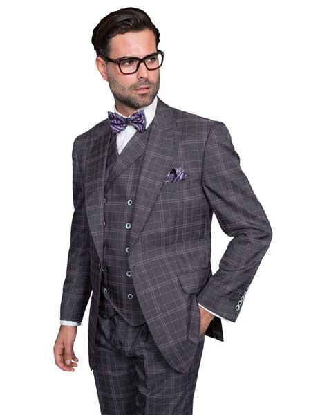 Mens Grey Plaid Window
