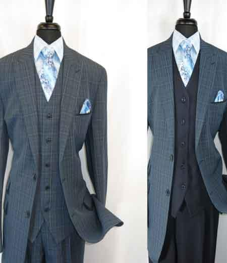 Blue Mens Peak Lapel
