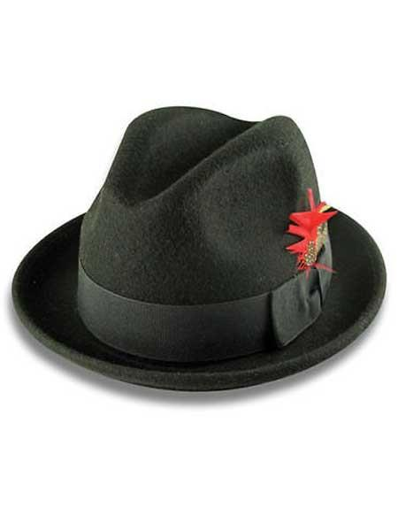100% Wool Black Fedora
