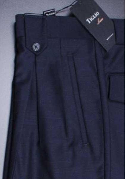 Navy Wide Leg Pleated