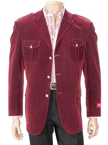 Burgundy Military Velvet Notch