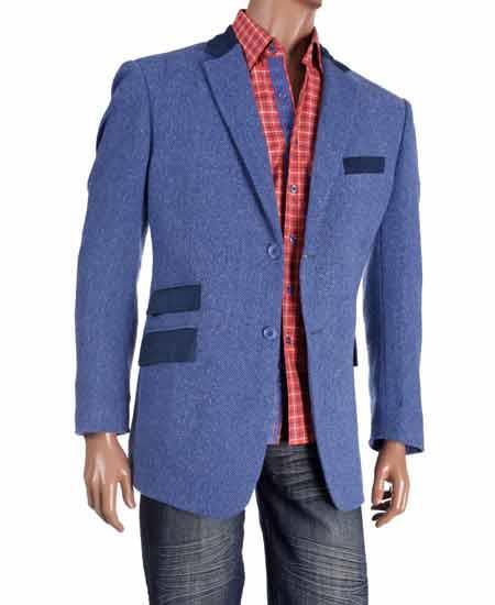 Blue Wool Herringbone Single