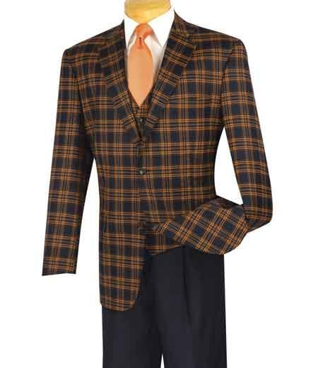 Mens Cognac Notch Lapel