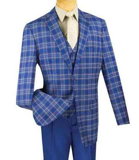 Mens Plaid 3 Piece