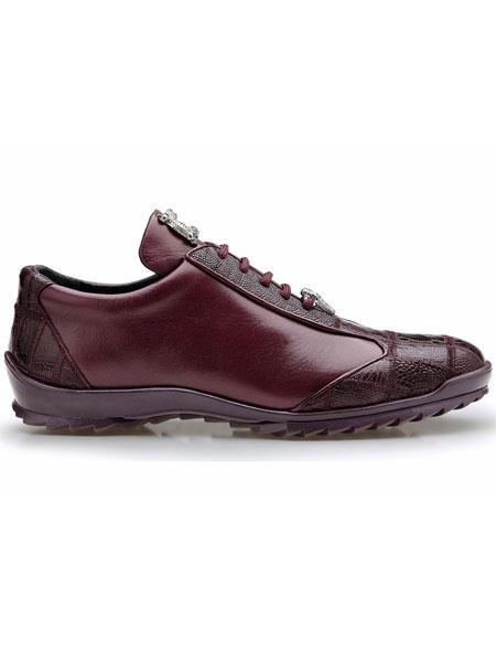 Dark Burgundy ~ Wine ~ Maroon Color Belvedere Paulo Genuine Ostrich And Soft Calfskin Sneakers