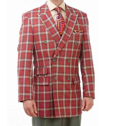 2 Piece Red/Green/Tan Plaid