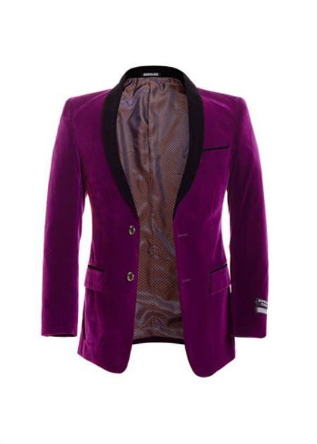 2 Button Purple Velvet