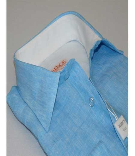 Turquoise Mens Button Front