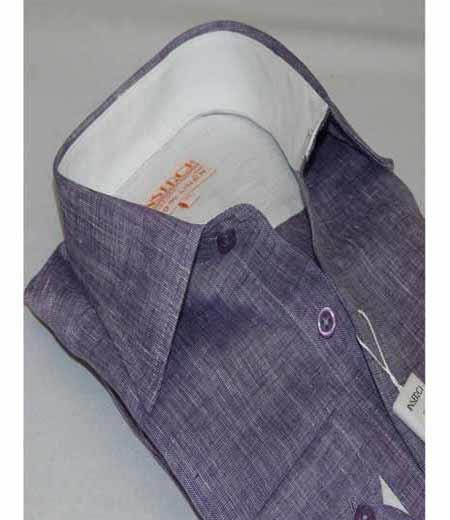 Mens Linen Purple Button